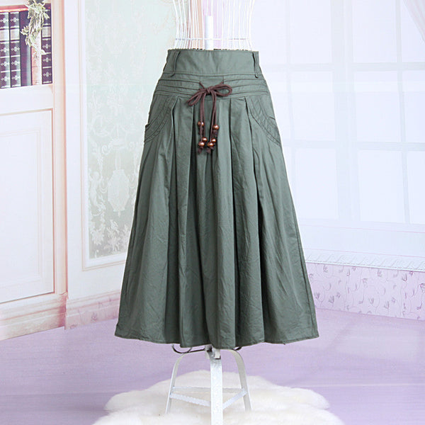 Women long skirt 2015 Summer Autumn saia longa Solid Linen skirt Maxi Skirts Women Big Pockets High Waist Pleated Casual Skirts dark green / One Size,  - JKK Mart, JKK Mart - 5
