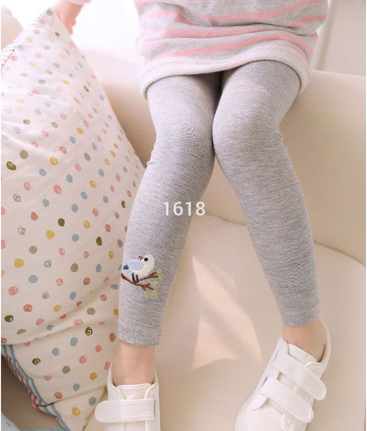 Baby Kids Girls Cotton Pants Embroidery Bird Warm Stretchy Leggings Trousers Leg Gray / 3T, Kids Dress - JKK Mart, JKK Mart - 4