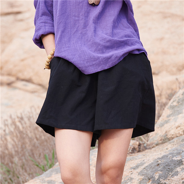 Cotton Linen Elastic waist Women Shorts Skirts Solid White Blue Loose Casual Summer Shorts Plus size Women Vintage Shorts B120 Black / One Size,  - JKK Mart, JKK Mart - 7