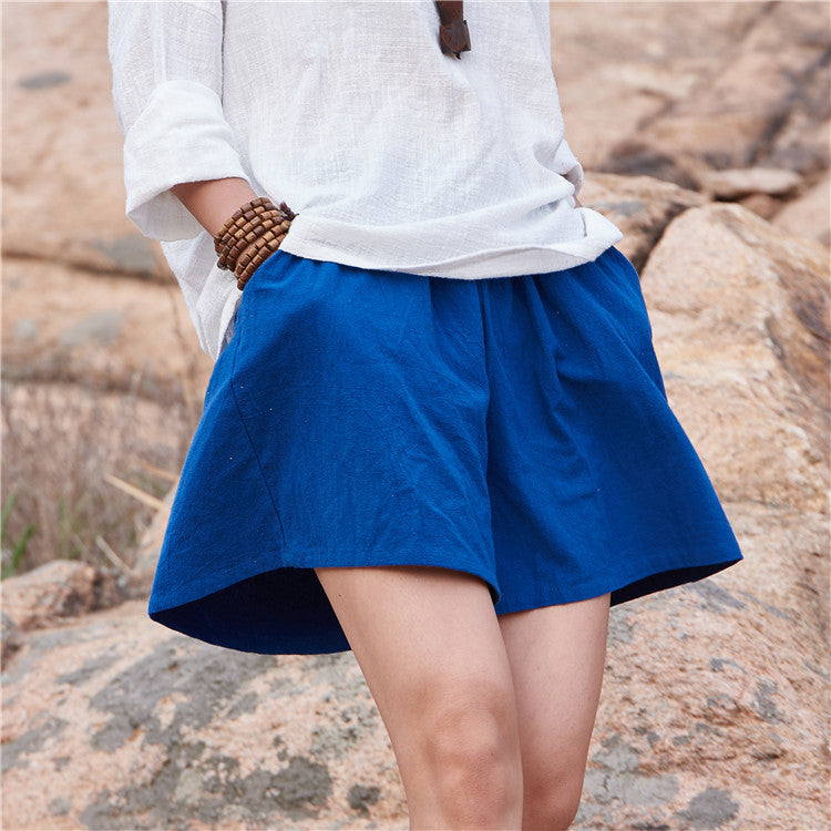 Cotton Linen Elastic waist Women Shorts Skirts Solid White Blue Loose Casual Summer Shorts Plus size Women Vintage Shorts B120 Blue / One Size,  - JKK Mart, JKK Mart - 5