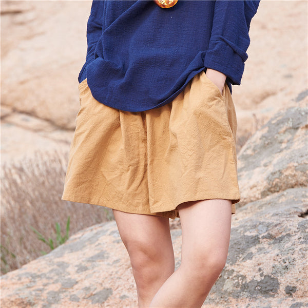 Cotton Linen Elastic waist Women Shorts Skirts Solid White Blue Loose Casual Summer Shorts Plus size Women Vintage Shorts B120 dark yellow / One Size,  - JKK Mart, JKK Mart - 4