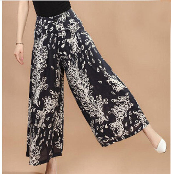Plus size Summer Women Print Flower Pattern Wide Leg Loose Linen Dress Pants Female Casual Skirt Trousers Capris Culottes N597 feng wei hua / M,  - JKK Mart, JKK Mart - 6