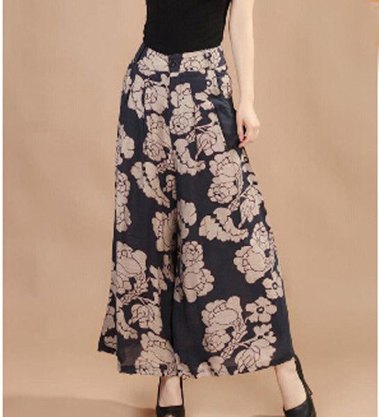 Plus size Summer Women Print Flower Pattern Wide Leg Loose Linen Dress Pants Female Casual Skirt Trousers Capris Culottes N597 lan hua / M,  - JKK Mart, JKK Mart - 5