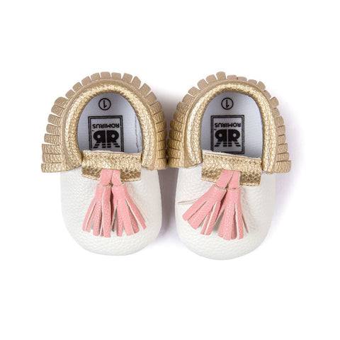 First Walkers Baby Moccasins Shoes Soft PU Leather Tassel Girls Bow Moccs - JKK Mart