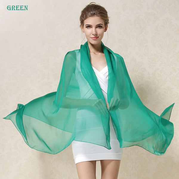 Long Solid Color Pure Silk  Scarf Women Spring Echarpe Smooth Summer Wrap Green Voile Luxury Scarves Foulard Beach cover-ups green,  - JKK Mart, JKK Mart - 2