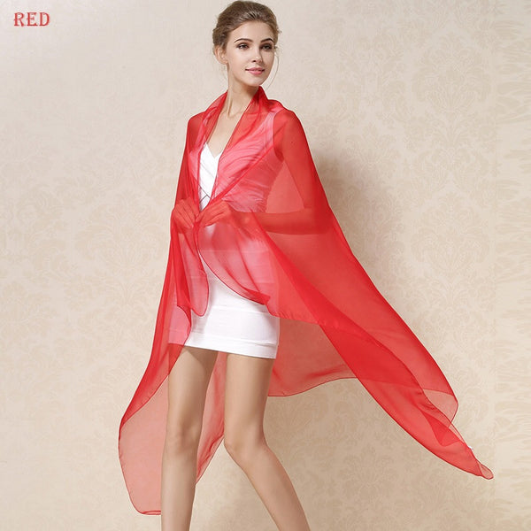 Long Solid Color Pure Silk  Scarf Women Spring Echarpe Smooth Summer Wrap Green Voile Luxury Scarves Foulard Beach cover-ups red,  - JKK Mart, JKK Mart - 7
