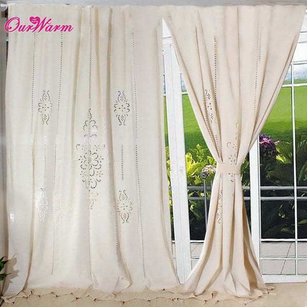 HotTube Curtain French Country Cotton Linen Crochet Lace Panel Drape customize f ,  - JKK Mart, JKK Mart