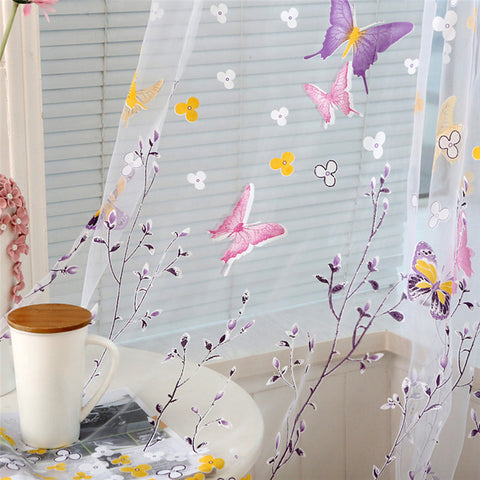 Butterfly Branches Printed Tulle Curtains for Living Room Kitchen Indoor Window ,  - JKK Mart, JKK Mart
