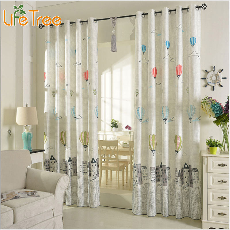 Cartoon Balloon Window Curtains For Kids Room Korean Style Living Room Curtains Bedroom Drapes Punching and Hook Treatments ,  - JKK Mart, JKK Mart - 1