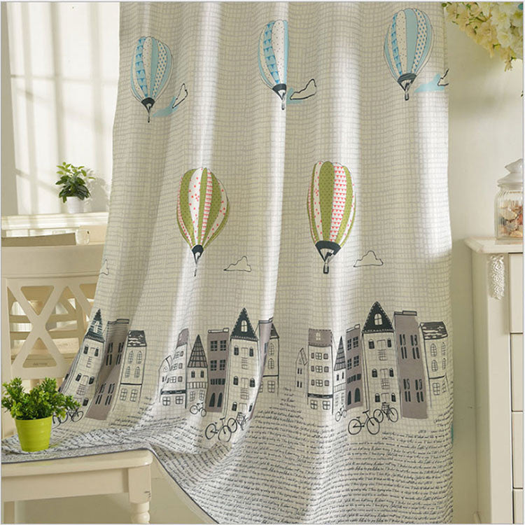 Cartoon Balloon Window Curtains For Kids Room Korean Style Living Room Curtains Bedroom Drapes Punching and Hook Treatments Light Grey Curtain / W100cm L250cm / 1 Hook,  - JKK Mart, JKK Mart - 2