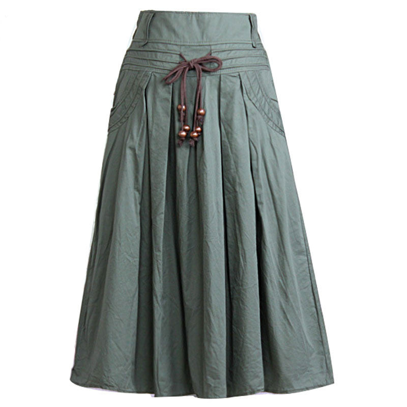 Women long skirt 2015 Summer Autumn saia longa Solid Linen skirt Maxi Skirts Women Big Pockets High Waist Pleated Casual Skirts ,  - JKK Mart, JKK Mart - 1