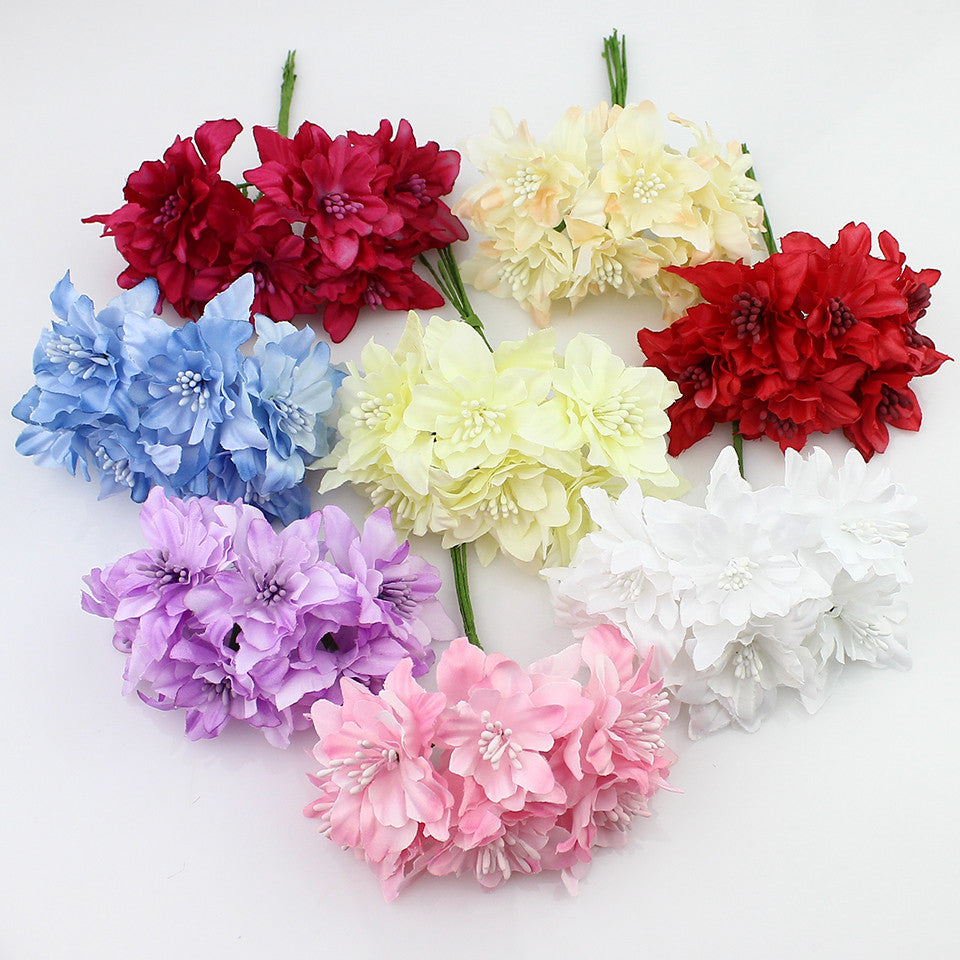 6pieces 5cm Artificial Orchid Flowers Bouquetsilk Lily Flower For