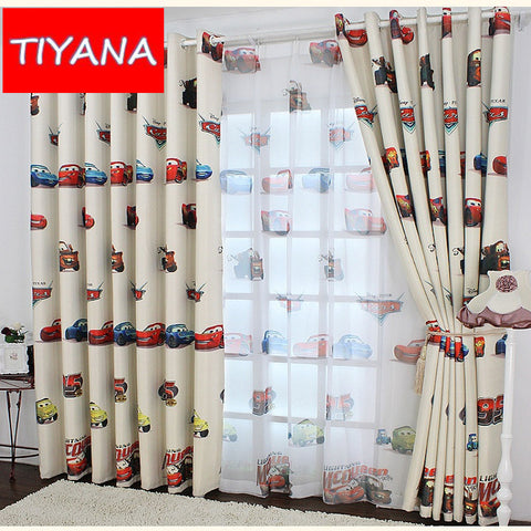 Small car cartoon blackout cloth window curtains for living room bedroom funny p ,  - JKK Mart, JKK Mart - 1
