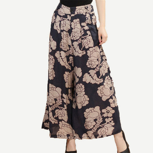 New Calca Feminina Summer Wide Leg Pant Flower Pant Broeken Woman Linen Female Capris Pattern Skirt Trousers Women Culottes K114 ,  - JKK Mart, JKK Mart - 1