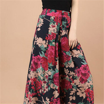 New Calca Feminina Summer Wide Leg Pant Flower Pant Broeken Woman Linen Female Capris Pattern Skirt Trousers Women Culottes K114 Peony flowers / S,  - JKK Mart, JKK Mart - 7