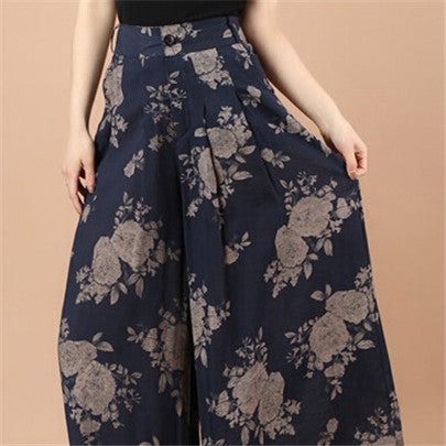 New Calca Feminina Summer Wide Leg Pant Flower Pant Broeken Woman Linen Female Capris Pattern Skirt Trousers Women Culottes K114 Underglaze porcelain / S,  - JKK Mart, JKK Mart - 2