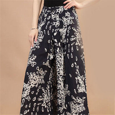 New Calca Feminina Summer Wide Leg Pant Flower Pant Broeken Woman Linen Female Capris Pattern Skirt Trousers Women Culottes K114 Ombre flowers / S,  - JKK Mart, JKK Mart - 5