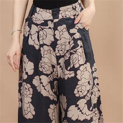 New Calca Feminina Summer Wide Leg Pant Flower Pant Broeken Woman Linen Female Capris Pattern Skirt Trousers Women Culottes K114 Blue peony / S,  - JKK Mart, JKK Mart - 3