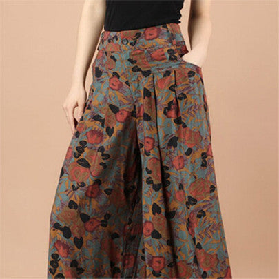 New Calca Feminina Summer Wide Leg Pant Flower Pant Broeken Woman Linen Female Capris Pattern Skirt Trousers Women Culottes K114 Golden rose / S,  - JKK Mart, JKK Mart - 6