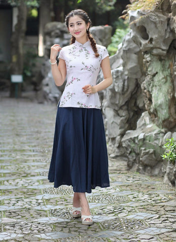 1ede232689 Top Selling Women's Shirt Skirts Sets Vintage Chinese Classic Style Co –  JKK Mart
