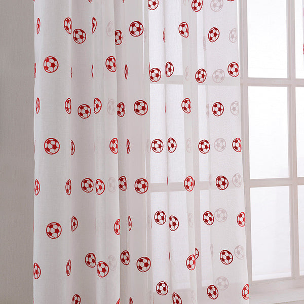 Top Finel New Embroidered Football Sheer Curtains for Living Room Bedroom Tulle Red / W100 x H130cm / 1 Tab Top,  - JKK Mart, JKK Mart - 2