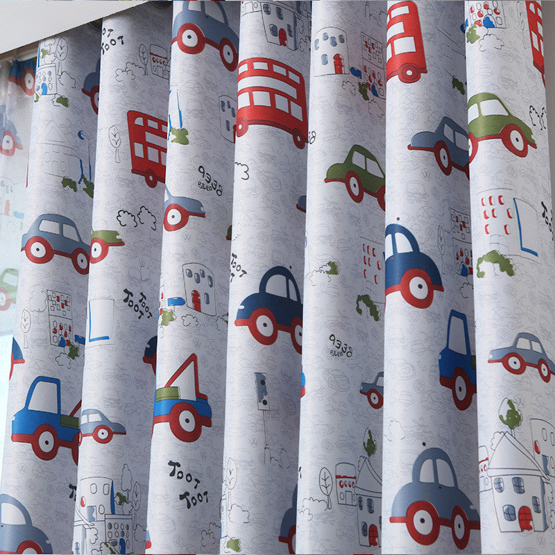 Top Finel Cartoon Car Curtains for Living Room Bedroom Lovely Children Curtains Decorative Curtains for Kids Baby Room Drapes Curtain / W100 x H 130cm / 1 Tab Top,  - JKK Mart, JKK Mart - 2