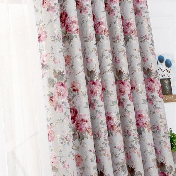 Golden Printed curtains Roses Bedroom curtain patterns Decoration living room Bl ,  - JKK Mart, JKK Mart