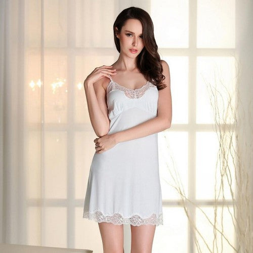 Sexy Lingerie Women Nightwear Mini Nightgowns Tempatation Deep V Straps Night Dr - JKK Mart