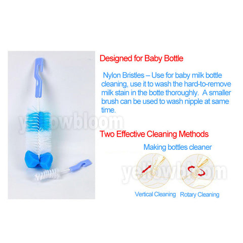 2pcs/set Brushes for rotating washing Baby Bottle , Nipple,  Milk Feeding Bottle - JKK Mart