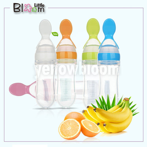 Baby bottal Feeding Spoon SiliconeTableware Medicine Extrusion Tools  Rice Cerea - JKK Mart