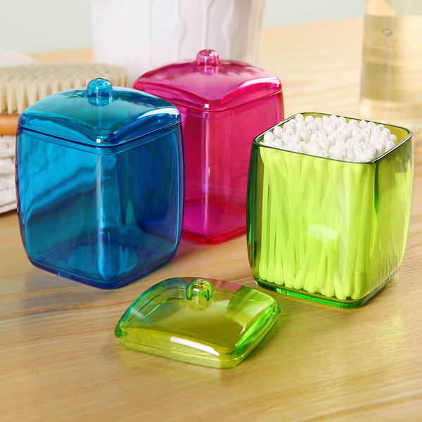 New Design Colorful Cotton Swab Box Q-tip Storage Holder Cosmetic Makeup tool Wo - JKK Mart