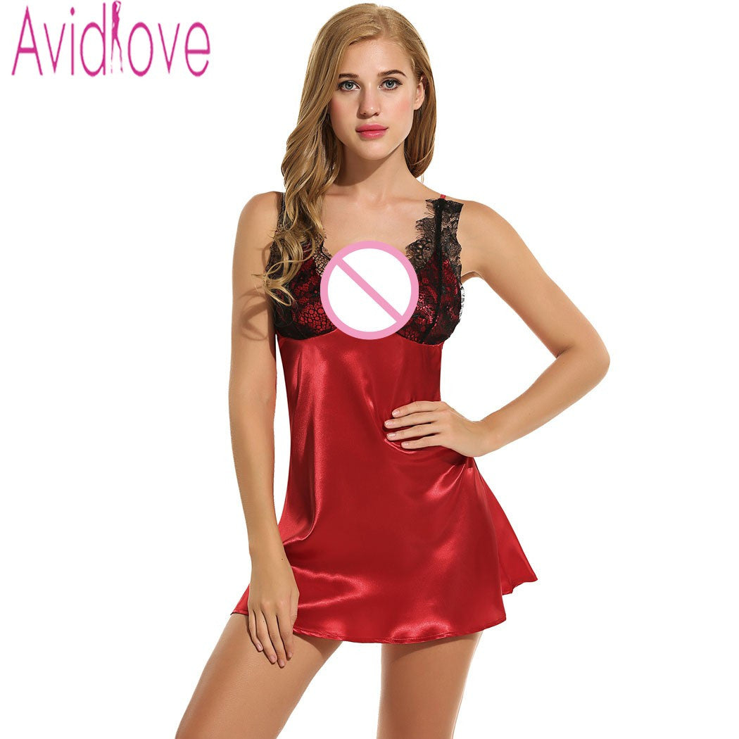 0787080c05 Avidlove Sleepwear Sexy Satin Sleep Dress Slip Nightgown Women Nightdress  Sexy L - JKK Mart
