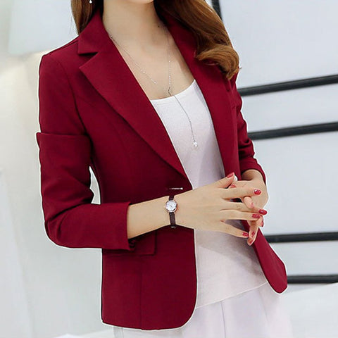 Women Blazer Long Sleeve Single Button Jacket Short Suits