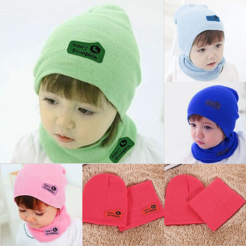 27ad770a2384 2 pcs   set Hot Sale Newborn Hats bibs Baby Boy Girls Cap toddler ...