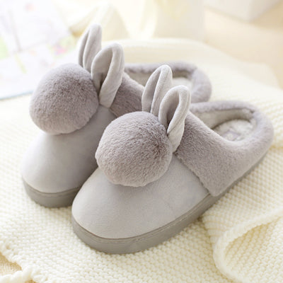 Women shoes Pink Slippers Cotton Slippers In Winter House Lovely Rabbit Indoor Slippers Pregnant