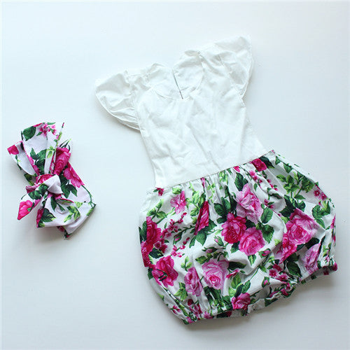 ba56a5a1592 Newborn baby boutique vintage floral romper jumpsuit Girl Bloomer Ruffle  Romper Kids clothes matched headband