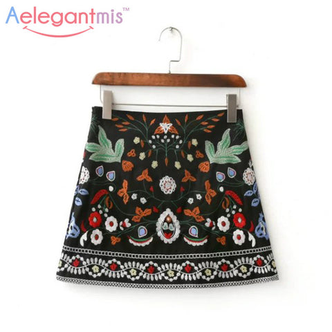 A-Line Mini Ethnic Women Skirts Short Black Embroidered Skirt High Waist Floral