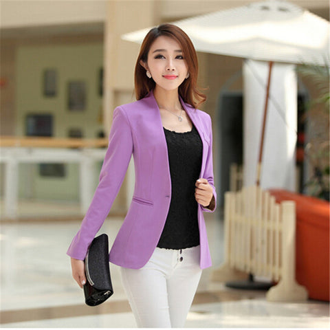 Women Blazers/Jackets Long Sleeve Slim Suit One Button big Size S-2XL - JKK Mart