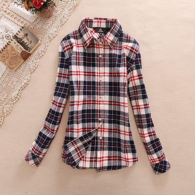 2017 Autumn Ladies Female Casual Cotton Lapel Long-Sleeve Plaid Shirt Women Slim