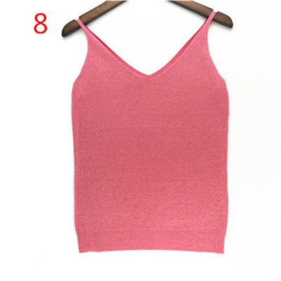 b6346cf5fbf16 Sexy Knitted Tank Tops Women Gold Thread Top Vest Sequined V Neck Long Tank  Tops