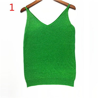 cf0bade93b8 Sexy Knitted Tank Tops Women Gold Thread Top Vest Sequined V Neck Long Tank  Tops