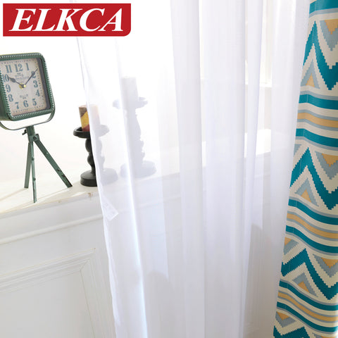 1 Pc White Curtains Solid White Tulle Modern Curtains for Living Room Transparent Tul