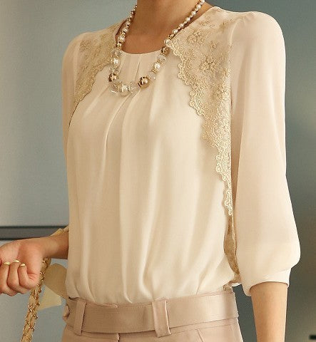 Fashion Chiffon Shirts New Turn-down Collar White Blouse Brand Women Lace Loose - JKK Mart