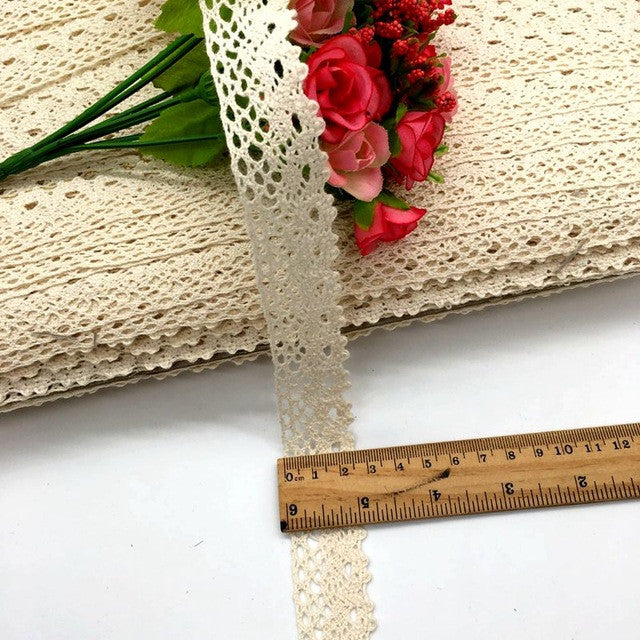 2.5cm 20m/lot White Beige Cotton Lace Hometexile Cloth Wrap Knitting Embellishme