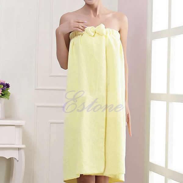 Women Absorbent Microfiber Fleece Shower Spa Body Wrap Bath Towel - JKK Mart