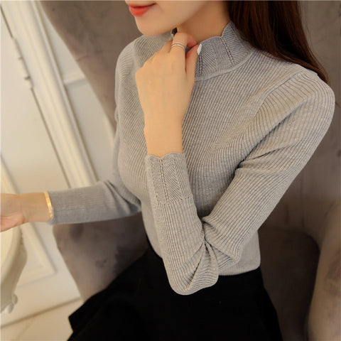 Korean Fashion Women Sweaters and Pullovers Sueter Mujer Ruffled Sleeve Turtleneck Solid Slim Sexy Elastic Women Tops - JKK Mart