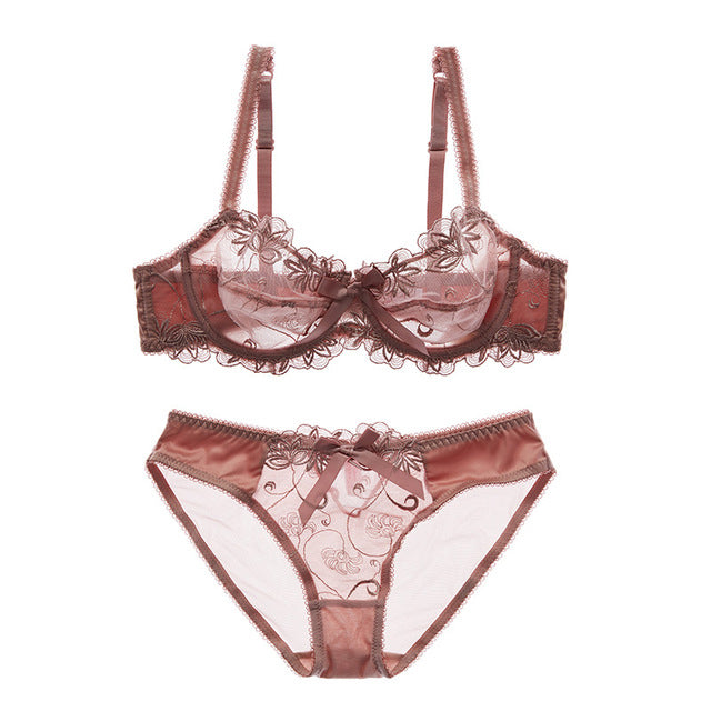 87c6a64ae4a Women transparent bra panties embroidery bras underwear set plus size  lingerie sexy cup Ultra thin lace