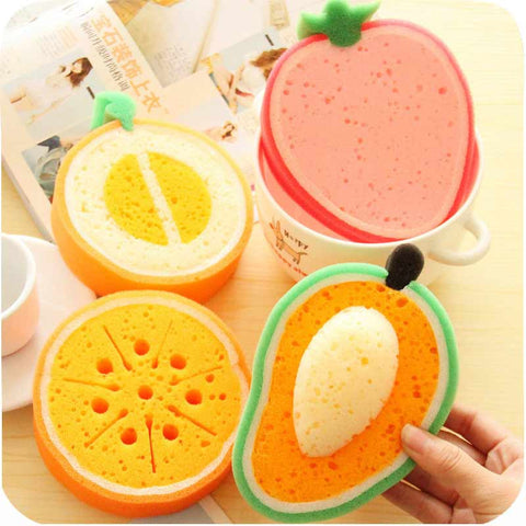1Pcs Lovely Scouring Pads Fruits Sponges & Scouring Fruits House Hold Cleaning T