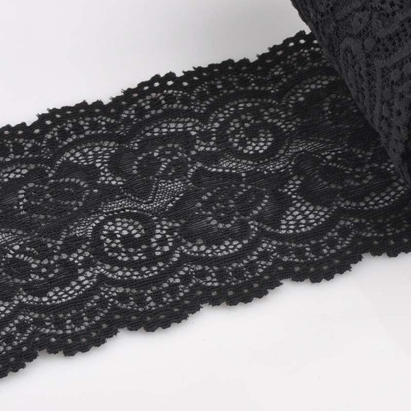 10cm width Black Springy Lace Fabric Trim Ribbon Garment Accessories for wedding