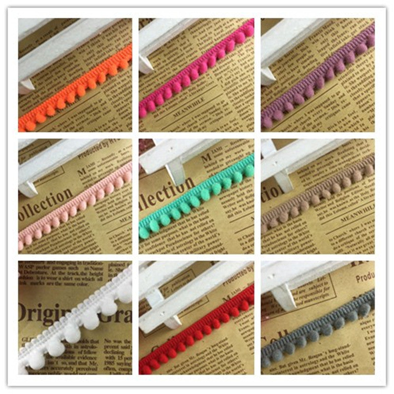 2 yards/lot Colorful Pom Pom Trim Ball Lace Fringe Ribbon DIY Sewing Accessory D